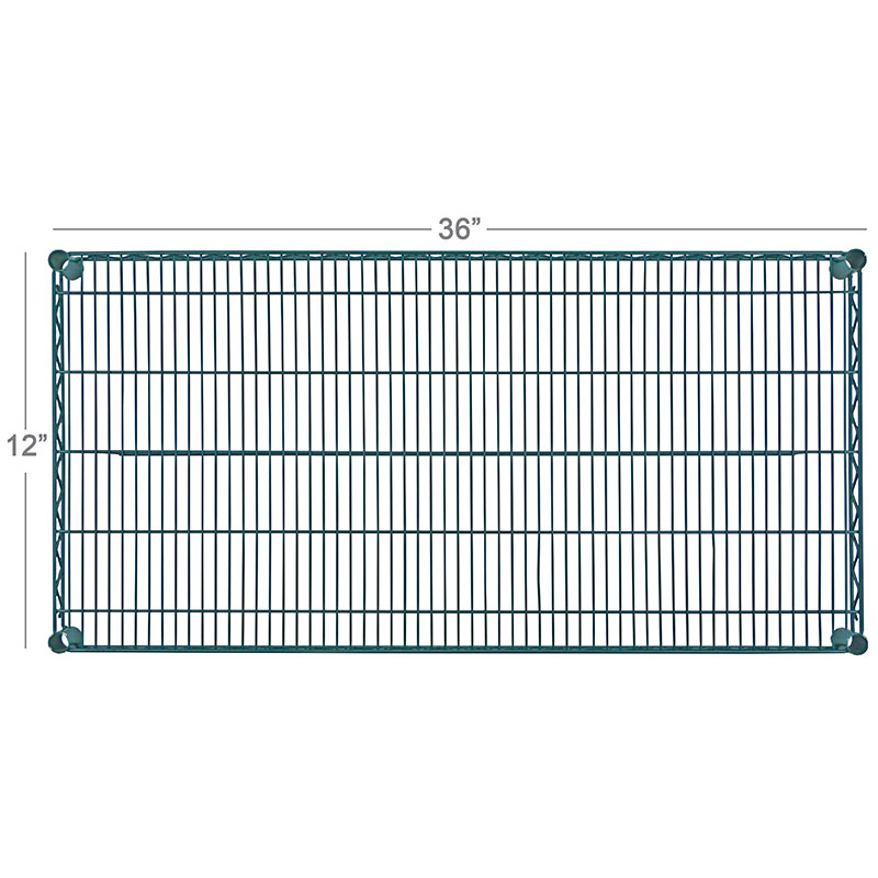 Focus FF1248GN Green Epoxy Coated Wire Shelf, 12 X 48 in