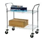 Focus FFC24362CH 2-Level Chrome Plated Utility Cart w/ Flat Ledges