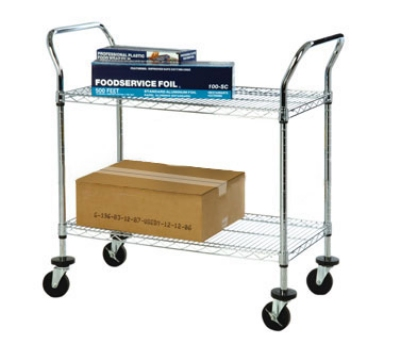 Focus FFC24362CH 3 Shelf Utility Cart, (4) 4 in Casters, Chromate, 18 x 36 x 37 in