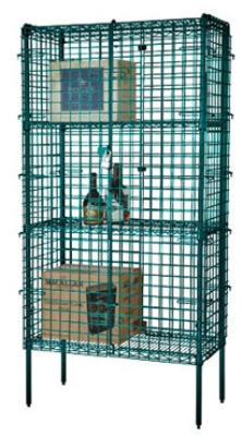 Focus FSSEC2448GN Security Cage Kit, Green, 74 in Posts, Leveling Feet, 24 in D x 48 in L