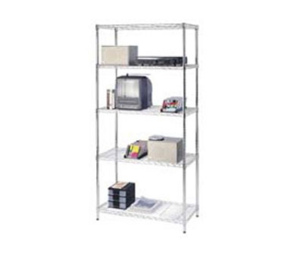 Focus FK243674CH Chrome Wire Shelving Unit w/ (4) Levels, 36x24x74""