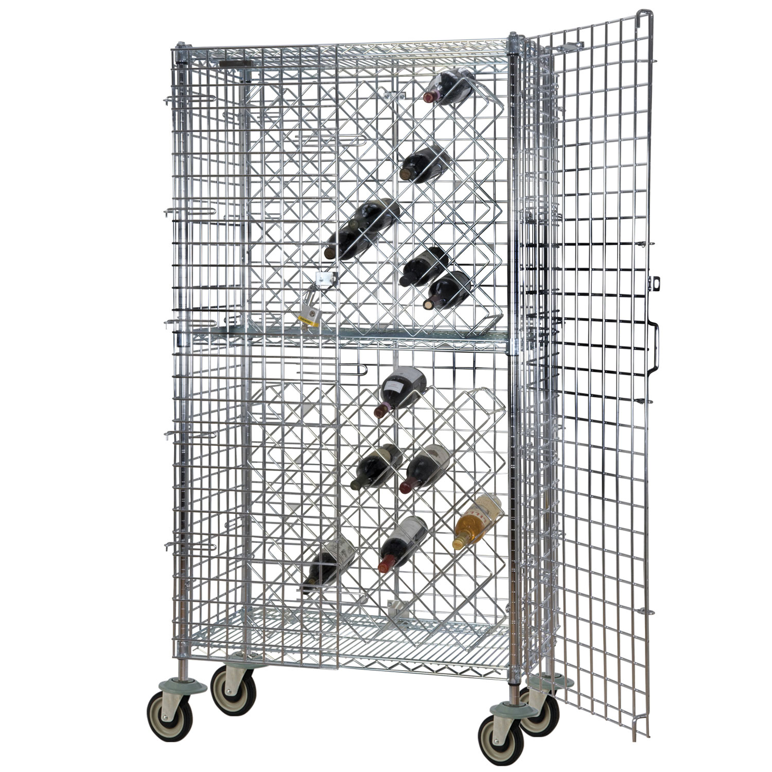 "Focus FDMWR2448CH Mobile Security Wine Rack w/ (8) 24 x 36"" Double Shelves, Holds 192-Bottles"