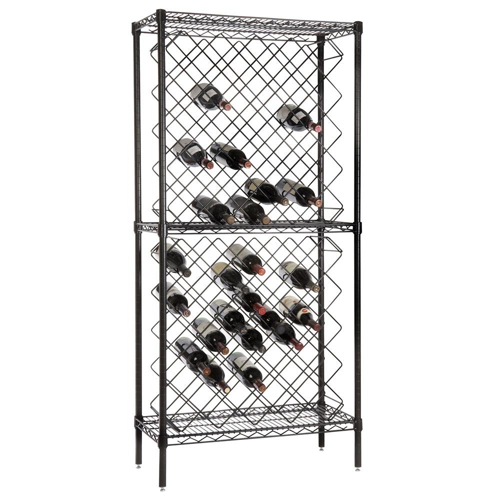 Focus FDWR82BK Black Display Wine Rack, 82 Bottle Capacity, Epoxy Finish