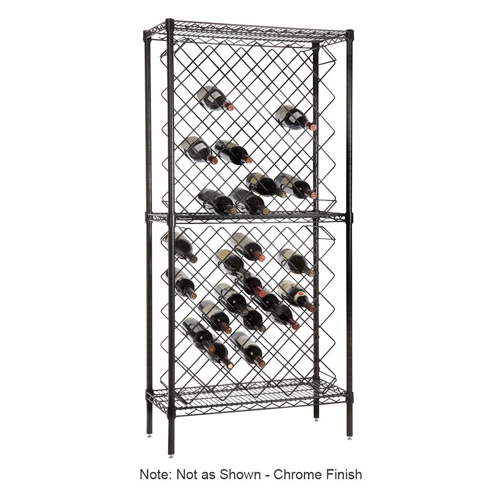 Focus FDWR82CH Display Wine Rack Includes (2) Wine Bottle Rack, (3) Wire Shelving & (4) Post