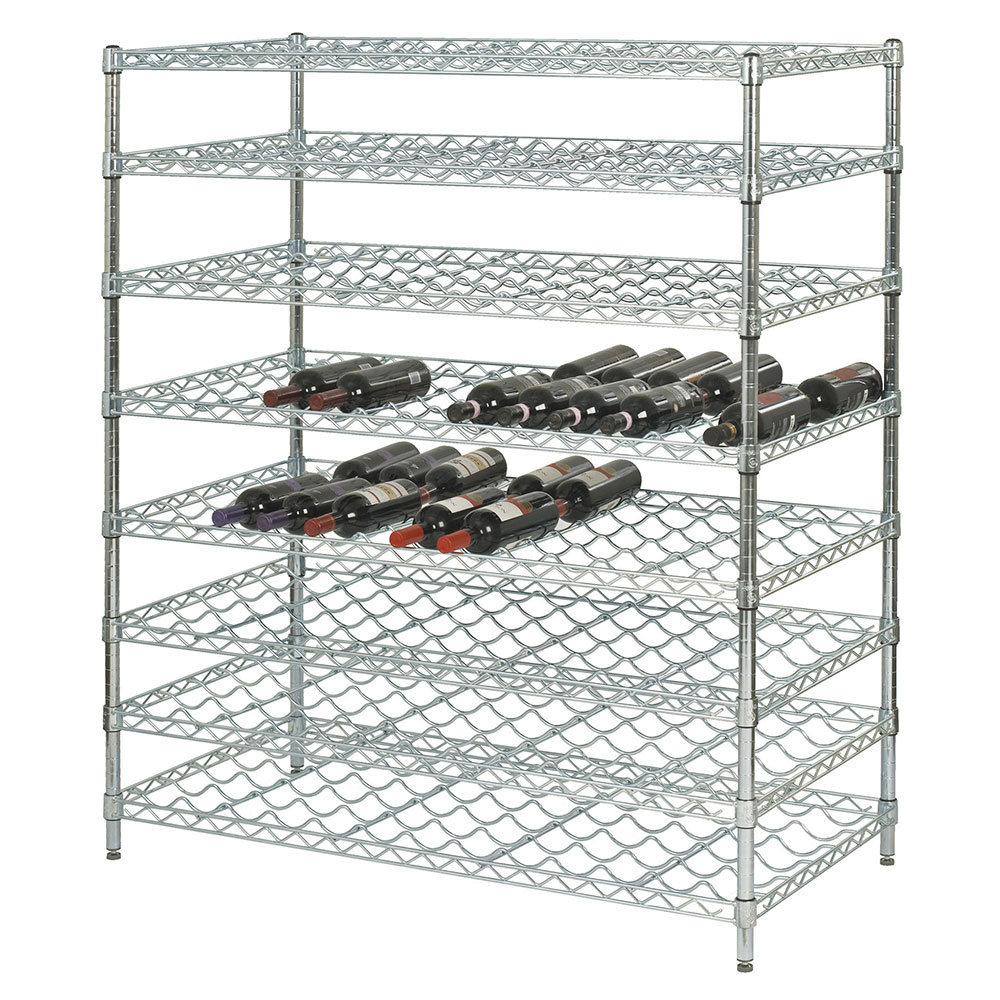 "Focus FDWSK4874CH Double Wine Shelf Kit w/ 48"" Shelves, 216-Bottle, Chromate"