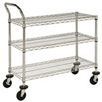 "Focus FFC18363C 3 Shelf Cart, Chrome Plated, 18"" X 36 in, 37""H"