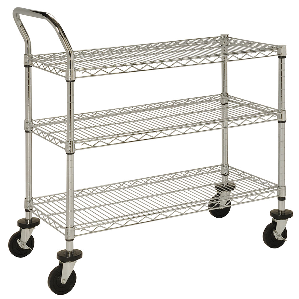 Focus FFC18363C 3 Shelf Cart, Chrome Plated, 18 in x 36 in, 37 in H