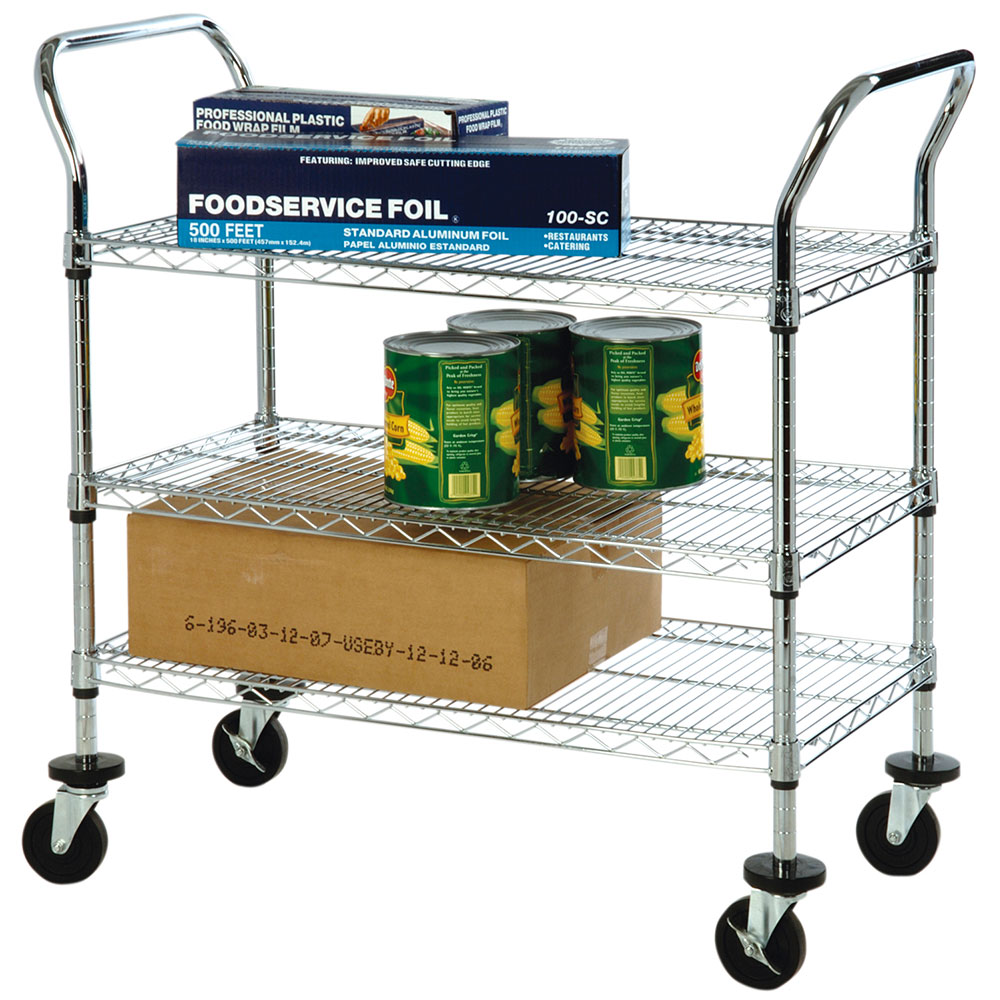 "Focus FFC24363CH 3 Shelf Utility Cart, Chromate, 4"" Casters, 24 x 36 x 37"""