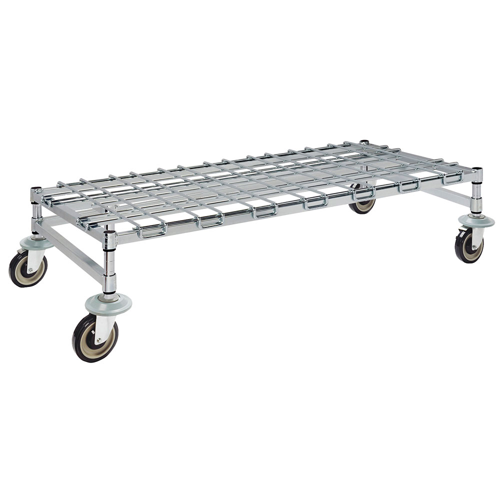 "Focus FFMDR1848CH 48"" Chrome Mobile Dunnage Rack w/ Wire Mat, 18"" Deep"