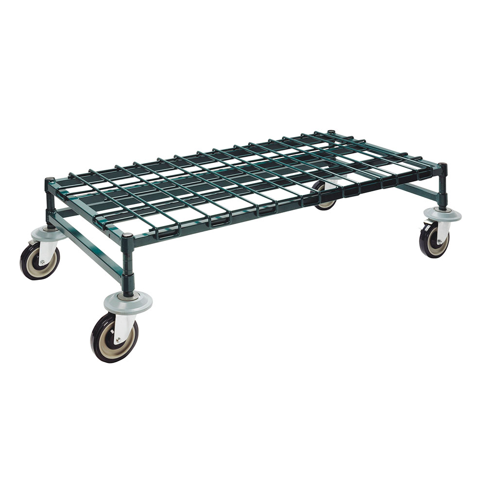 "Focus FFMDR1836GN 36"" Green Epoxy Mobile Dunnage Rack w/ Wire Mat, 18"" Deep"