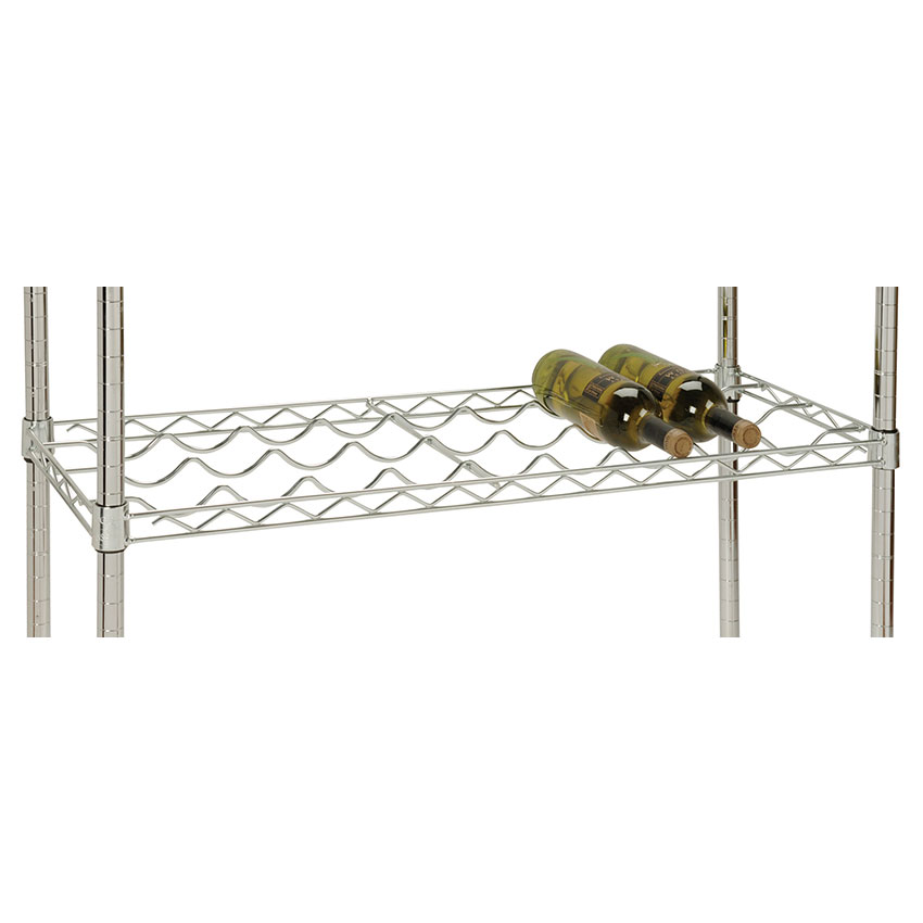 Focus FFWS1436CH Wine Shelf, Wire, 14 in D x 38 in W, Holds 9 Bottles, Chrome