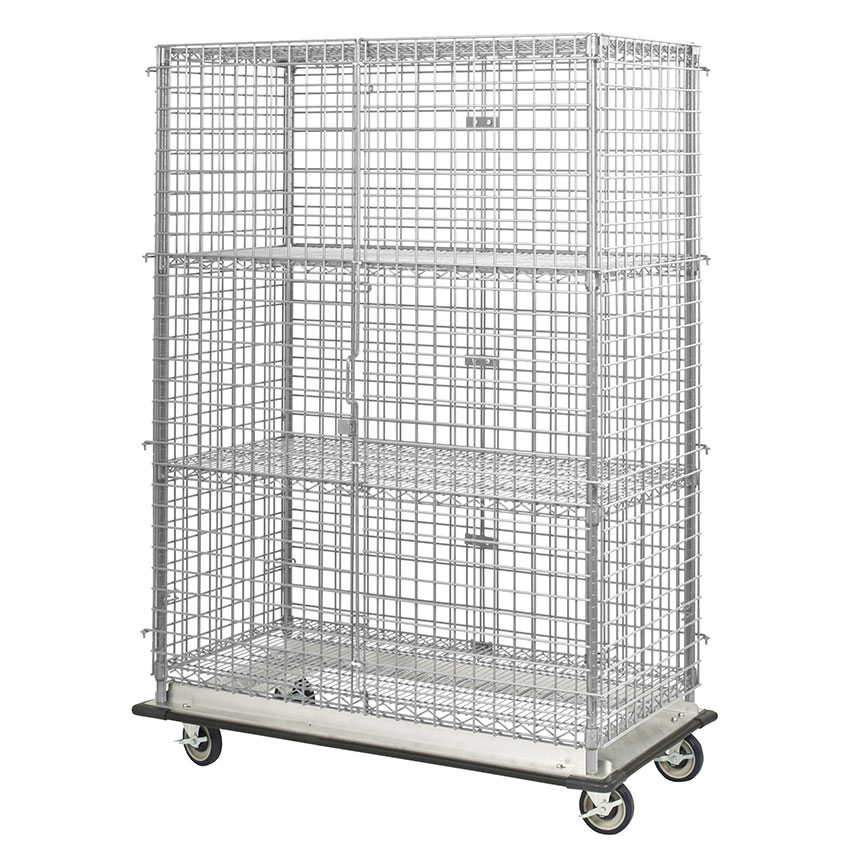 "Focus FHDMSEC24483 Mobile Security Cage w/ 63"" Staked Posts, (3) 24 x 48"", NSF"