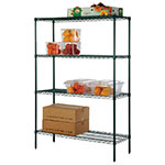 Focus FK183674GN Epoxy Coated Wire Shelving Unit w/ (4) Levels, 18x36x74""
