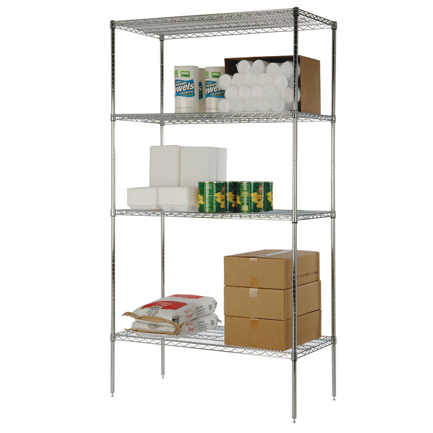 Focus FK243674CH Chrome Wire Shelving Unit w/ (4) Levels, 24x36x74""