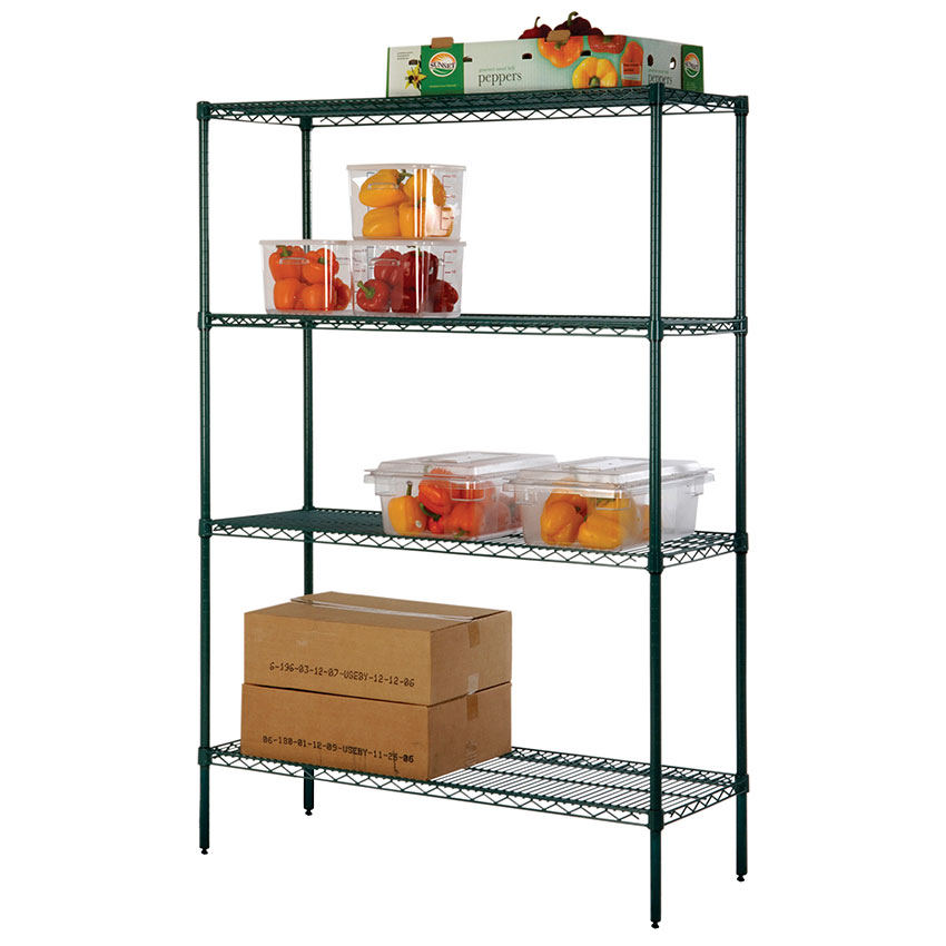 Focus FK244874GN Epoxy Coated Wire Shelving Unit w/ (4) Levels, 48x24x74""