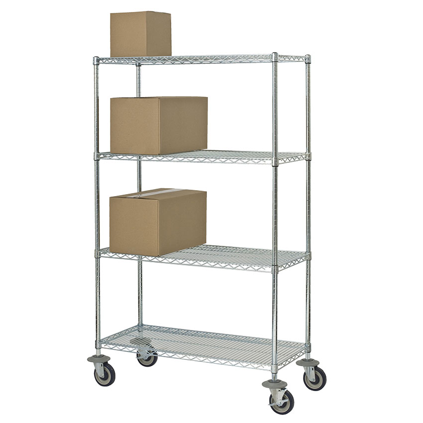 Focus FMK2160694CH Utility Cart w/ 4-Shelves & 1,200-lb Capacity, 21 x 60 x 69-in, Chromate