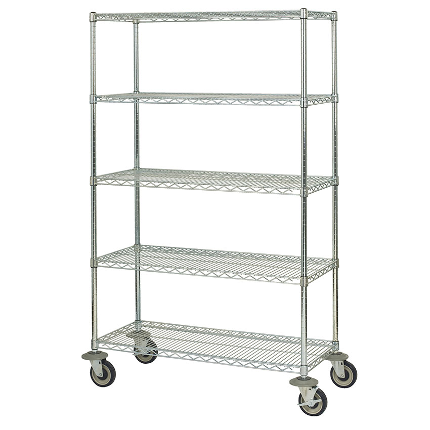 Focus FMK2148695CH Chrome Wire Shelving Unit w/ (5) Levels, 48x21x69""