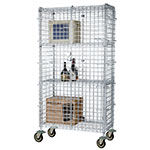 Focus FMSEC24484 Security Cage Complete Mobile Kit w/ 4-Shelves, 24 X 48 x 63-in, Chromate