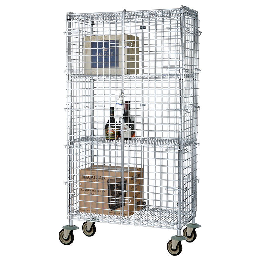 Focus FMSEC18604 Security Cage Complete Mobile Kit w/ 4-Shelves, 18 x 60 x 63-in, Chromate