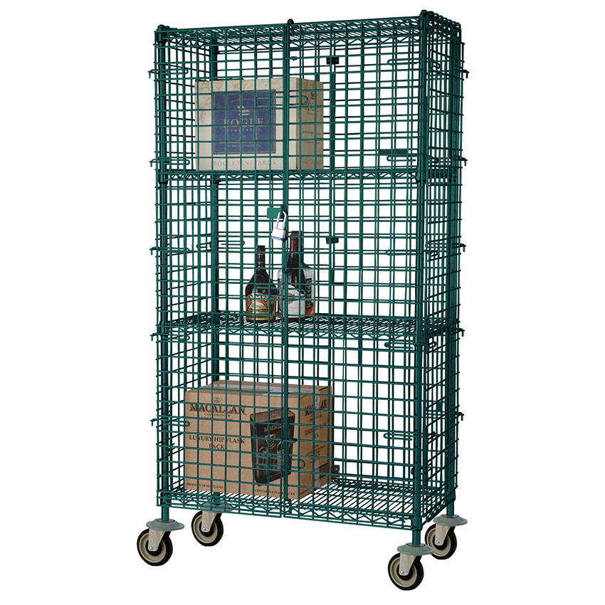 "Focus FMSEC2436GN 36"" Green Epoxy Mobile Security Cage Kit w/ Bumbers, 24"" Deep"