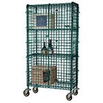 "Focus FMSEC2460GN Security Cage Kit, Green, 63"" Posts, (4) 5"" Casters, 24""D x 60""L"