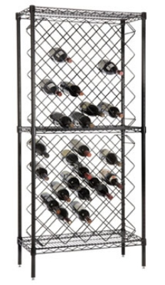 Focus FDWR82BK Black Display Wine Rack, 82 Bottle Capacity, Epoxy Finish