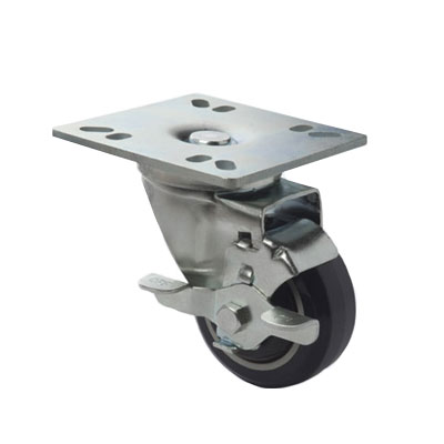 "Focus FPCST355E 5"" Universal Square Plate Caster w/ Brake, NSF"