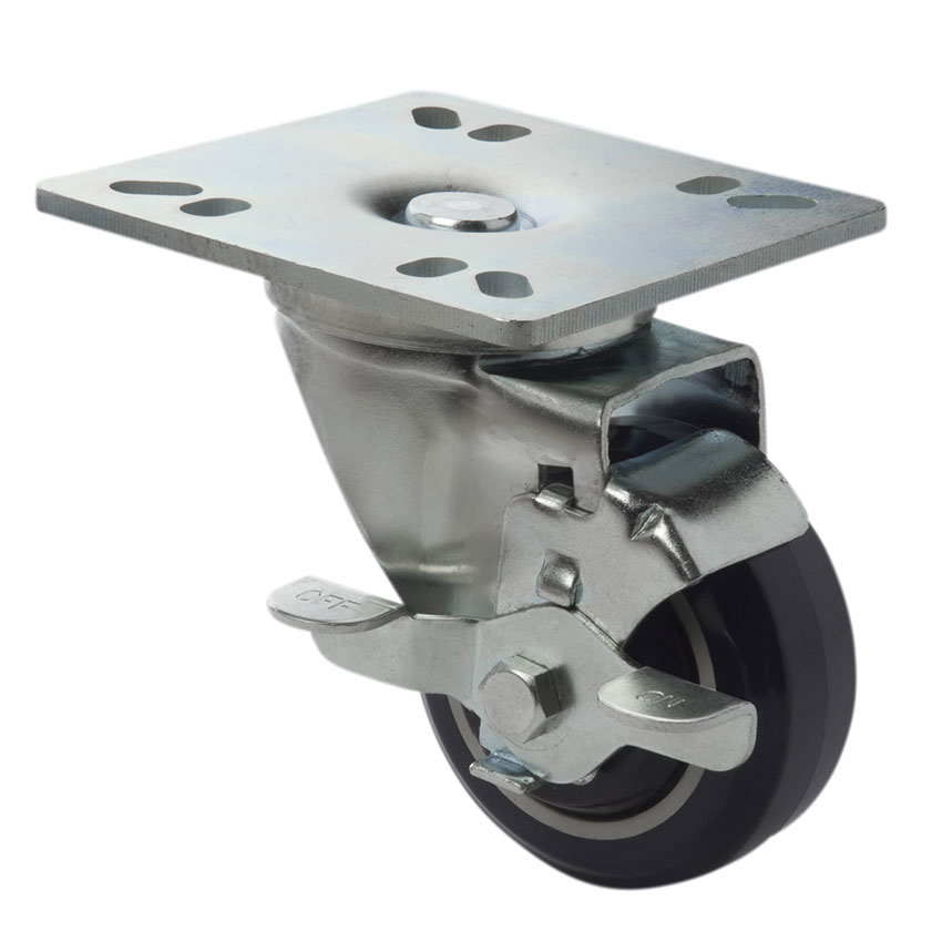 Focus FPCST3 Universal Plate Casters w/ Brake, 3 in, Set of 4