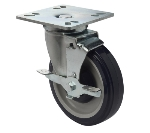 Focus FPCST5E Universal Plate Caster w/ Brake, 5-in Diameter, 250-lb Capacity