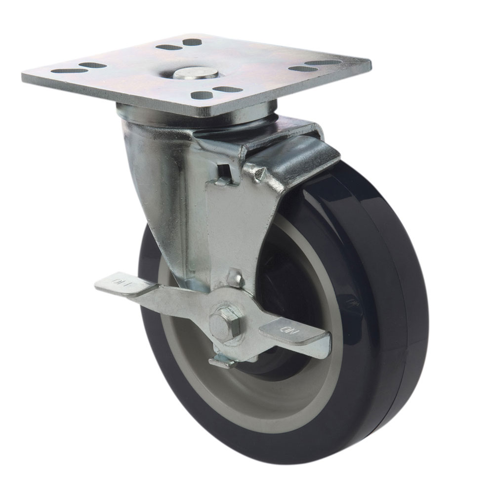 Focus FPCST5HD Heavy Duty Universal Plate Casters w/ Brake, 5 in, Set of 4