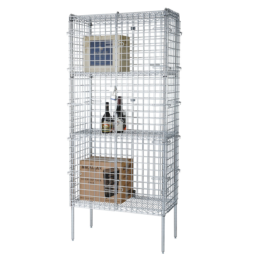 "Focus FSSEC18364 Security Cage Complete Stationary Kit w/ 4-Shelves, 18 x 36 x 63"", Chromate"
