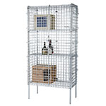 "Focus FSSEC24484 Security Cage Complete Stationary Kit w/ 4-Shelves, 24 X 48 x 63"", Chromate"