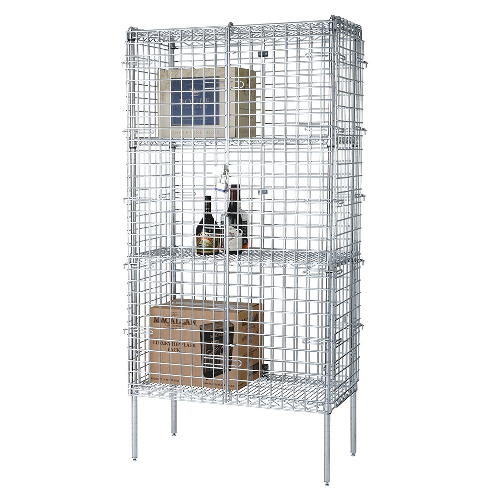 Focus FSSEC18484 Security Cage Complete Stationary Kit w/ 4-Shelves, 18 x 48 x 63-in, Chromate