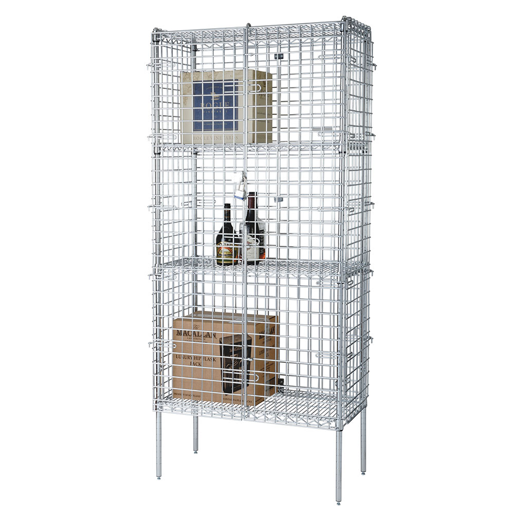 "Focus FSSEC24364 Security Cage Complete Stationary Kit w/ 4-Shelves, 24 X 36 x 63"", Chromate"