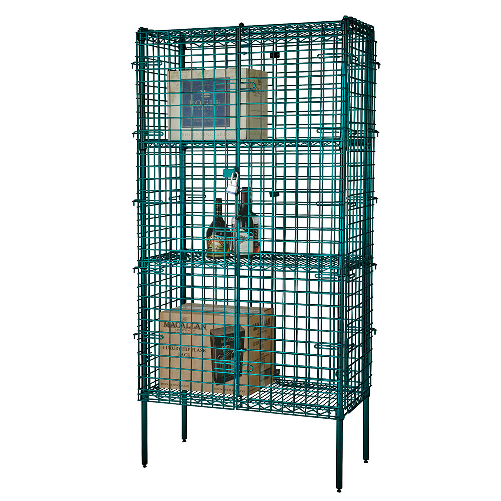 "Focus FSSEC2448GN Security Cage Kit, Green, 74"" Posts, Leveling Feet, 24""D x 48""L"