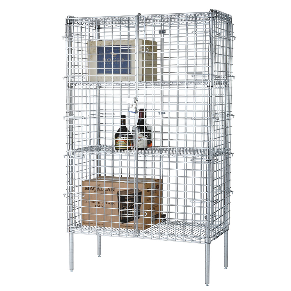 "Focus FSSEC24604 Security Cage Complete Stationary Kit w/ 4-Shelves, 24 X 60 x 63"", Chromate"