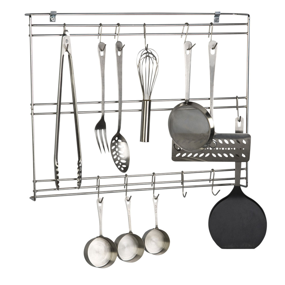 Focus FUR1824CHSS Stainless Wall Mounted Wall Rack w/ 20 Hooks, 18 x 24 x 3 in