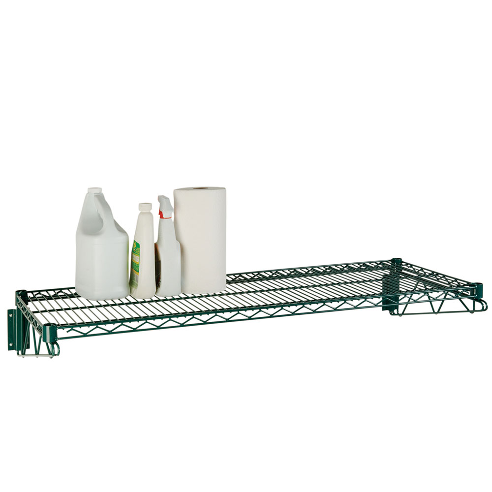 Focus FWS1448G Economy Wall Shelf Kit, Green Epoxy Coated, 14 in D x 48 in W