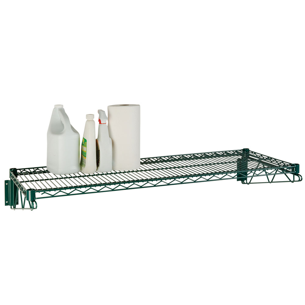 Focus FWS1848GN Economy Wall Shelf Kit, Green Epoxy Coated, 18 in D x 48 in W