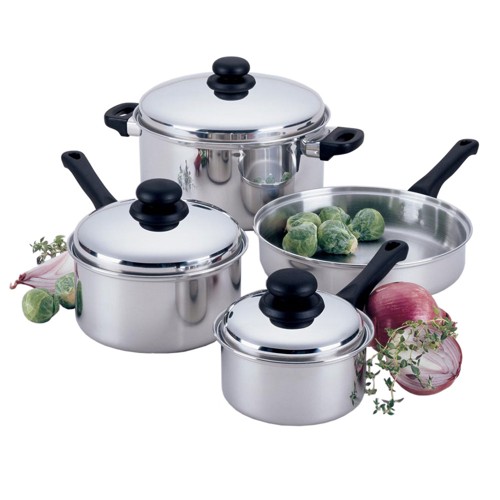 Focus KPW9007 7 Piece Focus Stainless Steel Cookware Set w/Stainless Steel Covers