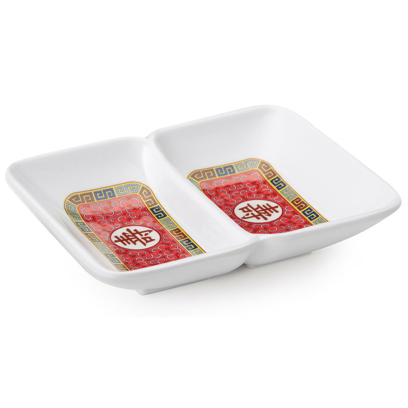 "GET 037-L Rectangular Sauce Dish w/ (2) 1-oz Compartments, 4"" x 3"", Melamine"