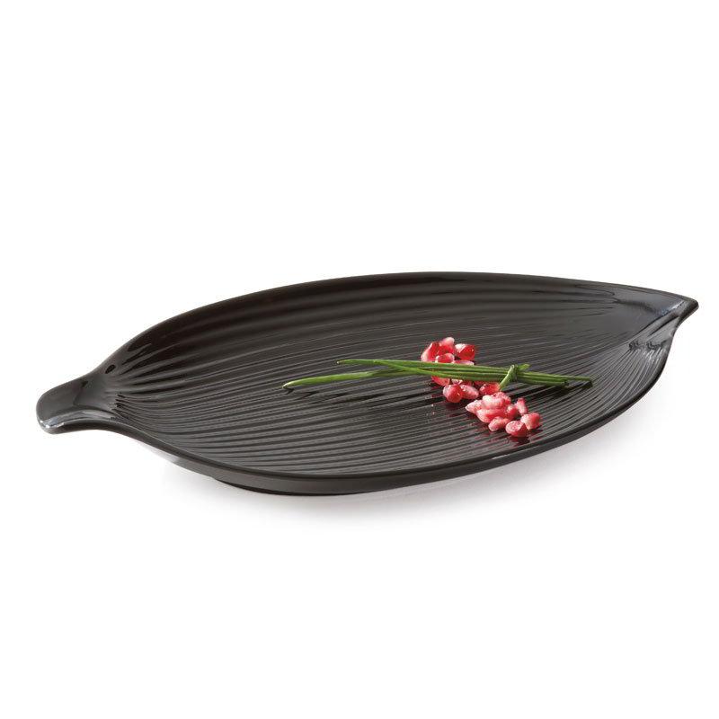 """GET 133-26-BK 10-1/2""""Leaf Plate, Melamine, Black"""