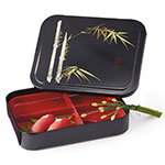 GET 171-F Bento Box w/Cover, Red/Black, Japanese Fuji