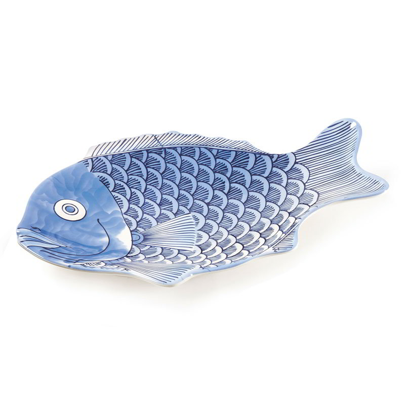 GET 370-14-BL Creative Table Blue Decorated Fish Plastic Platter, 14 x 10