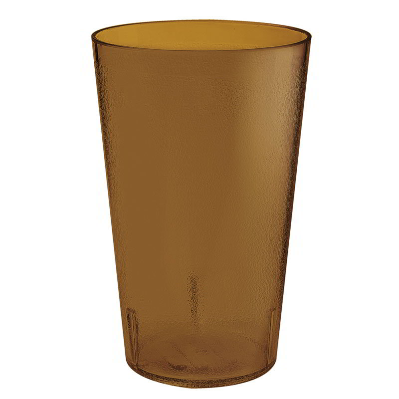 GET 5032-4-A 32-oz Short Plastic Tumbler, Textured, Stackable, Amber