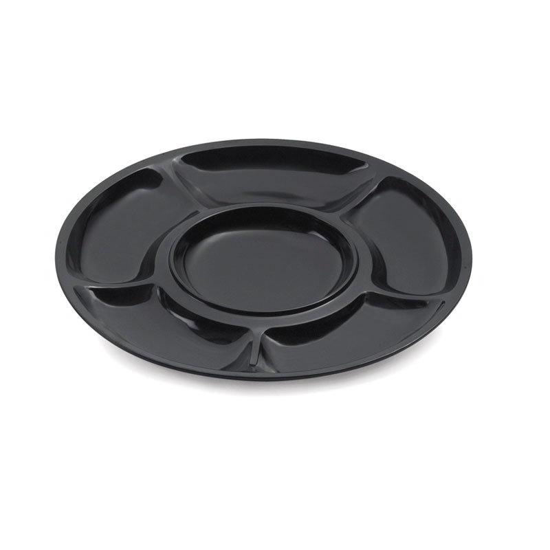 GET APS-6-BK Appetizer Sampler Platter, 6 Comp, Melamine, Black