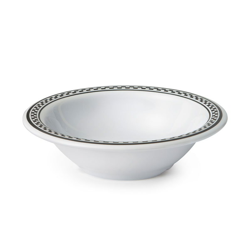 "Get B-127-X 12oz Bowl, 7-1/2"" Melamine, White Bowl w/Checkered Rim"