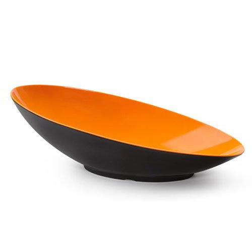 "GET B-798-OR/BK Oval Fruit Bowl w/ 2.5-qt Capacity, 20"" x 10"" x 6"", Melamine, Orange/Black"