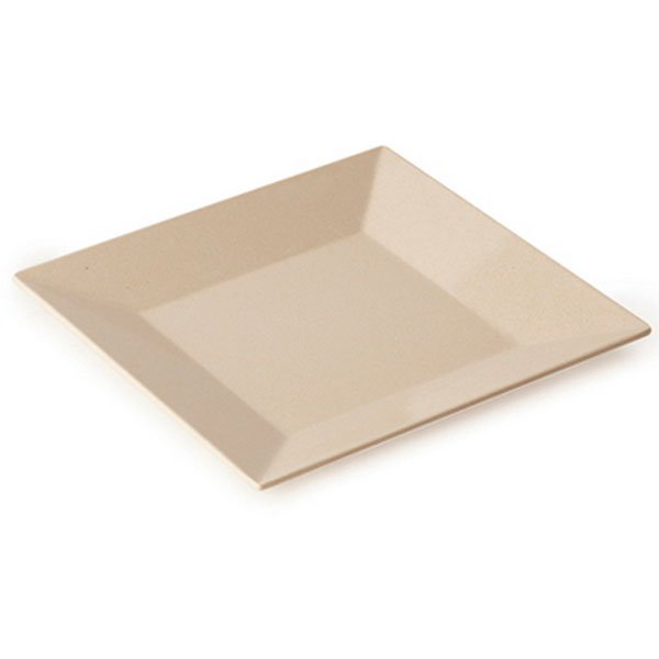 "GET BAM-1104 10"" Square BambooMel Plastic Plate w/ Wide Rim"