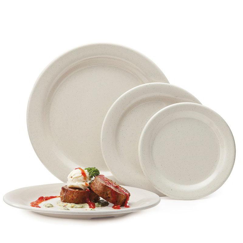 "Get BF-700-IR 7-1/4""Dessert Plastic Plate, Ironstone Speckled"